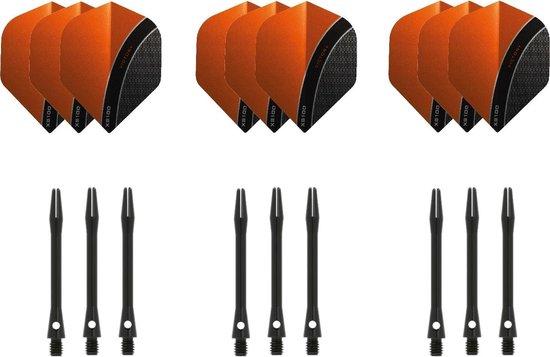 Dragon darts - 3 sets - XS100 Curve - Oranje - Darts flights - plus 3 sets - aluminium - darts shafts - zwart - medium