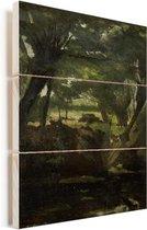 Bosgezicht - Schilderij van George Hendrik Breitner Vurenhout met planken 20x40 cm - Foto print op Hout (Wanddecoratie)