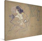 Madame Thadée Natanson - Schilderij van Henri de Toulouse-Lautrec Canvas 160x120 cm - Foto print op Canvas schilderij (Wanddecoratie woonkamer / slaapkamer) XXL / Groot formaat!