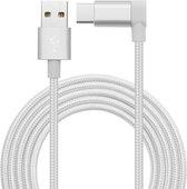 Mobigear USB-C Kabel 90 Graden Nylon Zilver 1.2 Meter