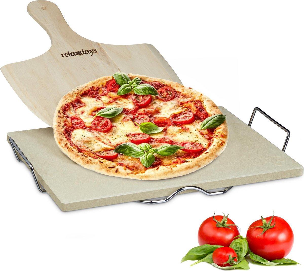 relaxdays pizzasteen set met schep, 1,5 cm dik, rechthoekig, pizza steen houder