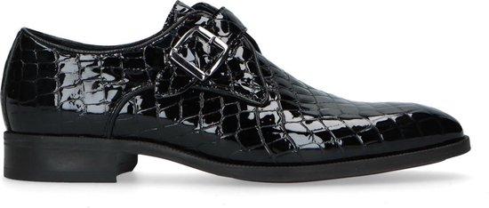 Manfield - Heren - Zwarte gespschoenen van lakleer met crocoprint - Maat 41