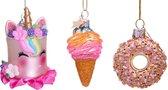 Vondels Kerstversiering Ornament Glass Hello Sweetie Mini Set 5 cm Roze