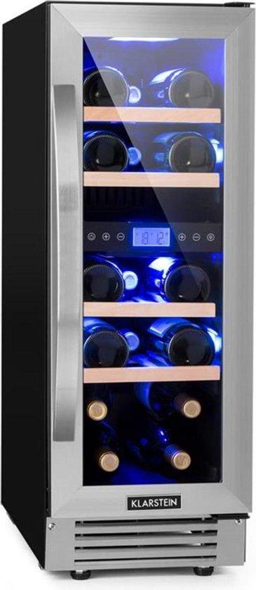 Koelkast: Vinovilla Duo17 twee zone-wijnkoelkast 53 l 17 flessen 3-kleurenlamp glazen deur, van het merk Klarstein
