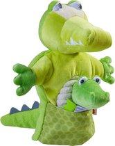 Haba Handpop Krokodil Met Baby Junior 30 X 22 Cm Polyester Groen
