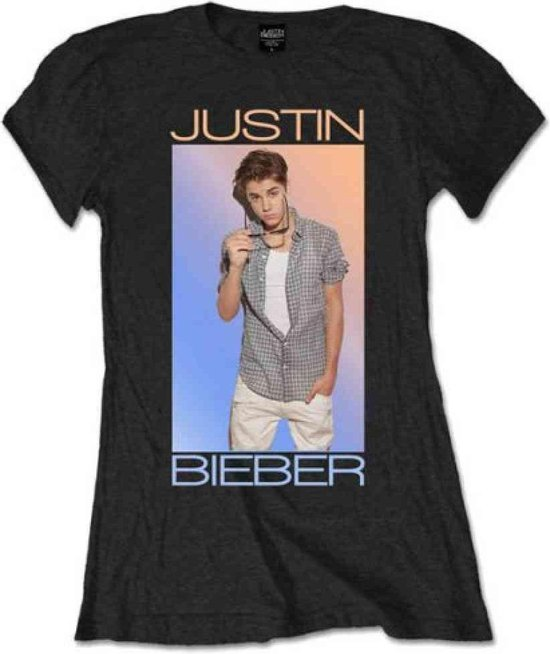Justin Bieber Dames Tshirt -L- Colour Fade Zwart