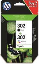 HP 302 - Inktcartridge / Zwart / Kleur / 2-Pack