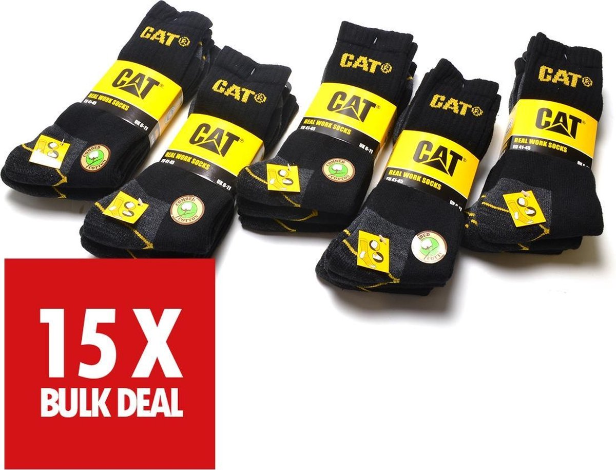 Cat Workwear sokken   -  maat: 41  - 45   -  15 paar