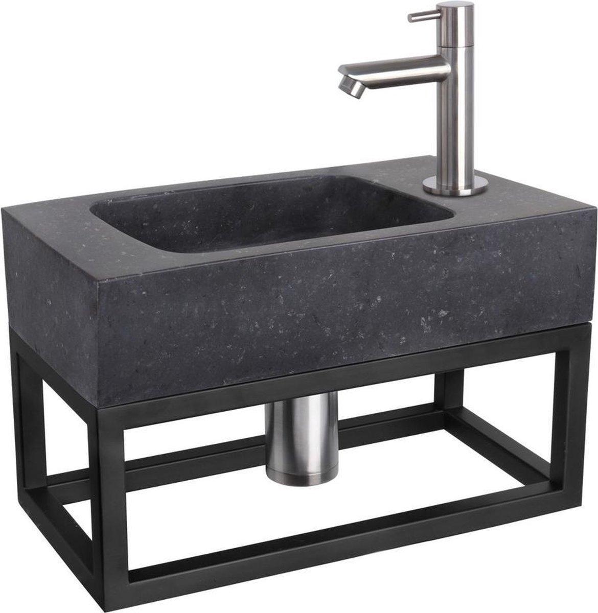 Differnz Fonteinset Bombai black - Natuursteen - Kraan recht mat chroom - Met handdoekrek - 40 x 22 x 9 cm