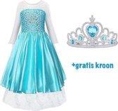 Elsa jurk - blauwe prinsessenjurk - maat 110 (120) - Frozen  - verkleedkleding
