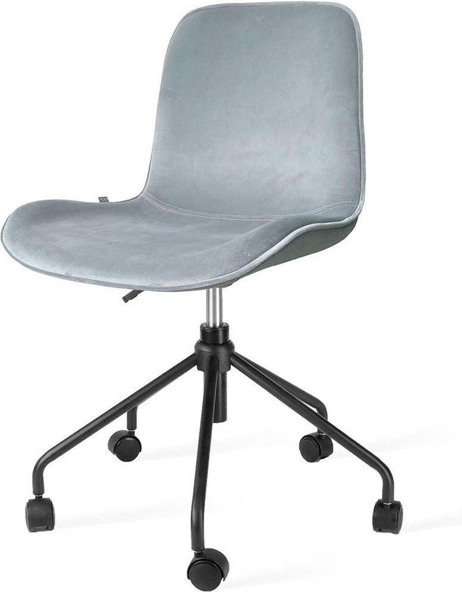 Nolon Nout bureaustoel zwart - Velvet zitting soft blue