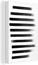 Canvas Schilderij Zwart Geverfd - Zwarte verflijnen op wit papier canvas 2cm - 80x120 cm - Foto print op Canvas schilderij (wanddecoratie woonkamer / slaapkamer)