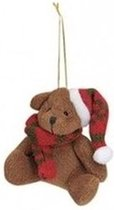 Kersthangers knuffelbeertjes bruin met rode sjaal en muts 7 cm - Kerstboomversiering ornamenten