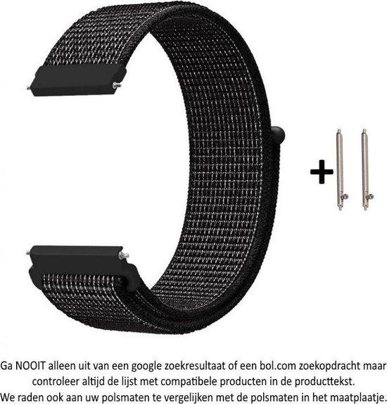 Zwart Nylon Bandje met witte weave voor 20mm Smartwatches (zie compatibele modellen) van Samsung, Pebble, Garmin, Huawei, Moto, Ticwatch, Citizen en Q – 20 mm black nylon smartwatch strap