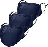 iMoshion 3-Pack Herbruikbaar, wasbaar mondkapje 3-laags katoen - Donkerblauw