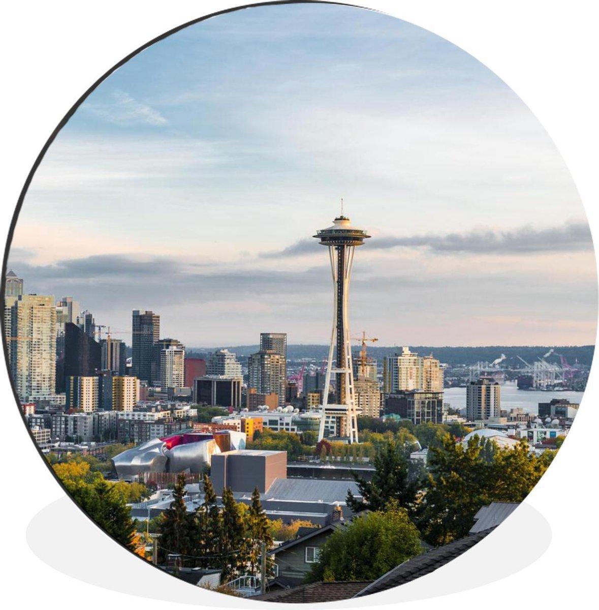 Space Needle in de staat Washington Wandcirkel aluminium ⌀ 120 cm - foto print op muurcirkel / wooncirkel / tuincirkel (wanddecoratie)