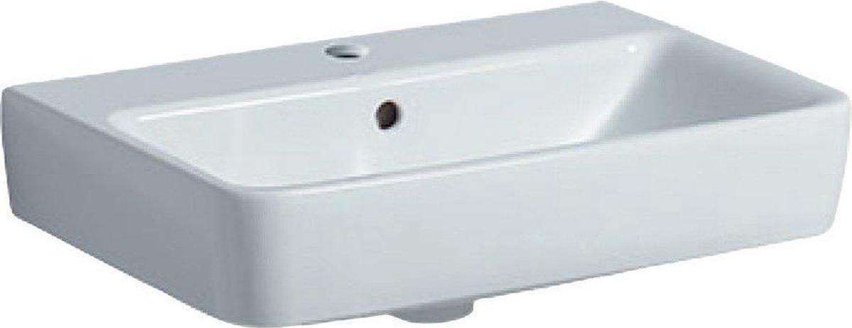 Geberit Renova compact wastafel 55 cm 1 kraangat met overloop, wit