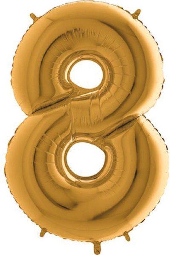 Grabo Balloons - Folieballon - cijfer 8 - goud - 66cm