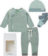 Noppies Unisex Cadeauset (5delig) Sokken, Mutsje, Shirt en Broekje Mint Grijs - Maat 44