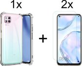 Huawei P40 Lite Hoesje Transparant - Shock Proof Case - 2x Huawei P40 Lite Screenprotector