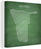 Illustratie van Namibië op een krijtbord 20x20 cm - klein - Foto print op Canvas schilderij (Wanddecoratie woonkamer / slaapkamer)