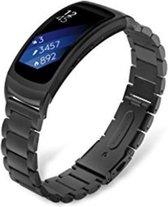Metaal schakel bandje Zwart geschikt voor Samsung Gear Fit 2 - SmartphoneClip.nl