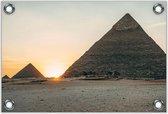 Tuinposter –Piramides met Zon – 60x40 Foto op Tuinposter (wanddecoratie voor buiten en binnen)