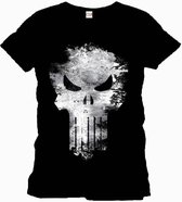 Marvel - Punisher Distress White Skull Black T-Shirt - S