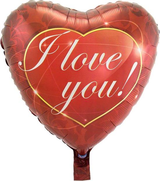 Folie cadeau sturen helium gevulde ballon I Love You 43 cm - Folieballon versturen/verzenden