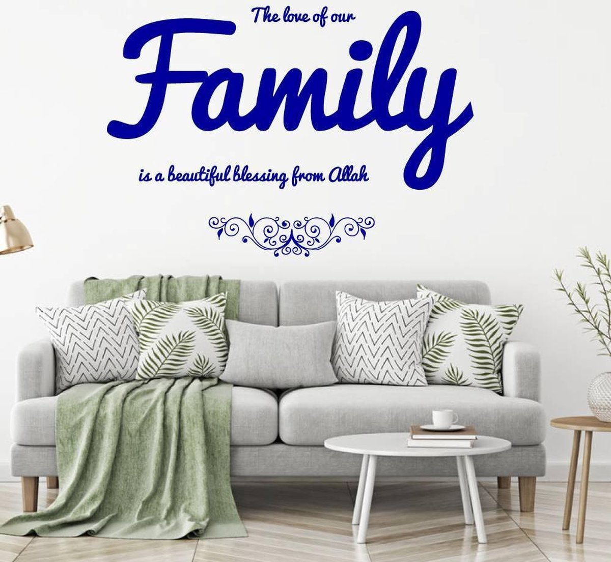 The Love Of Our Family Is A Beautiful Blessing From Allah -  Donkerblauw -  80 x 55 cm  -  woonkamer  arabisch islamitisch teksten   - Muursticker4Sale