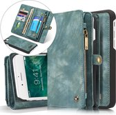 CASEME iPhone 7 Plus / 8 Plus Vintage Lederen Portemonnee Hoesje - met backcover (Groen)