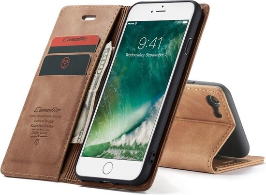 CASEME Retro Wallet Hoesje voor iPhone SE 2020 iPhone 78 Bruin