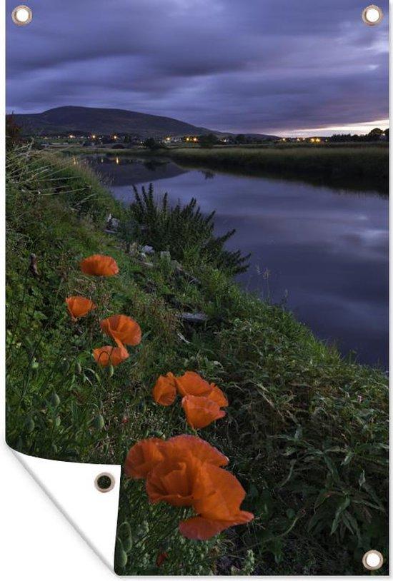 Rode papavers aan het water tuinposter 120x180 cm - Tuindoek / Buitencanvas / Schilderijen voor buiten (tuin decoratie) XXL / Groot formaat!