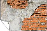 Antieke stenen muur met beton tuinposter 90x60 cm - Tuindoek / Buitencanvas / Schilderijen voor buiten (tuin decoratie)