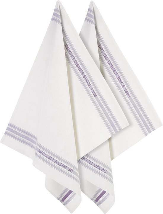 De Witte Lietaer Dish - Glazendoek - 65x70 cm - Set van 2 - Off-White-Lavender