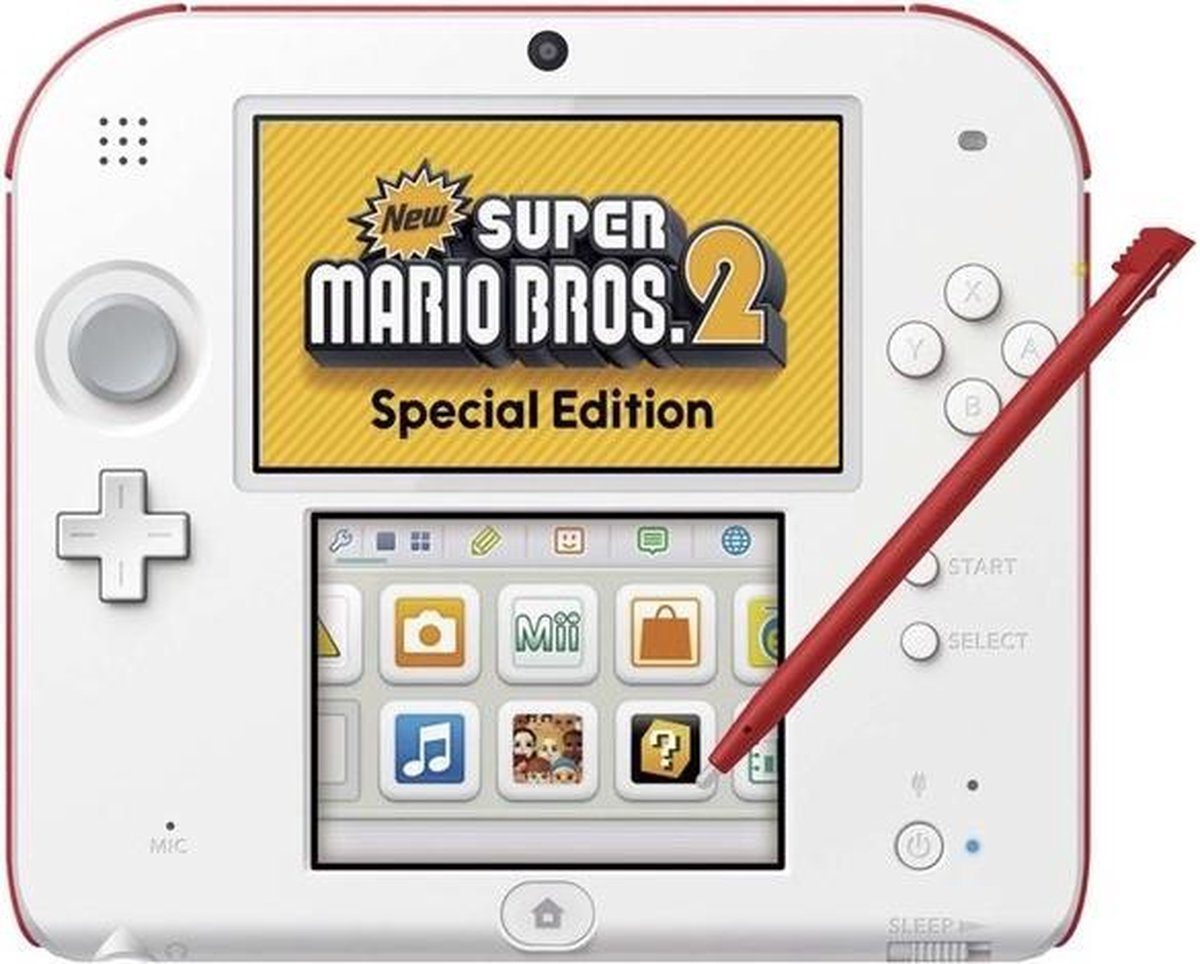 Nintendo 2DS Console - Wit/Rood - Limited Edition + New Super Mario Bros. 2