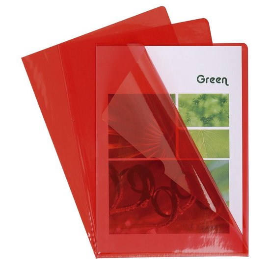 10x Pak van 10 L mappen - gladde PVC 13/100e - A4, Rood
