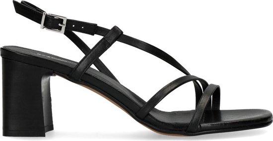 Sacha - Dames -  x Isha zwarte leren sandalen met hak - Maat 41