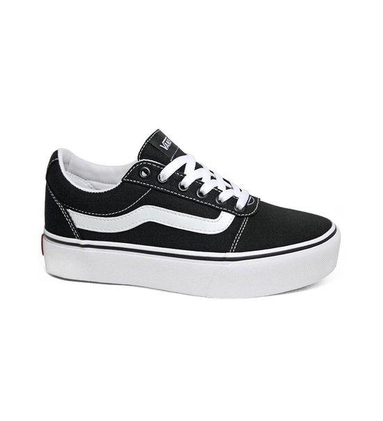 Vans Ward Platform Canvas Dames Sneakers - Black/White - Maat 40 4fVUd1cc