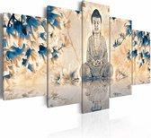 Schilderij - Boeddha - Spirituele gids, 5luik , premium print op canvas