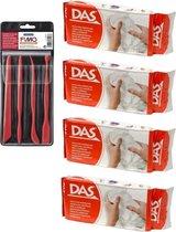 Witte boetseerklei van DAS 4 x 500 gram inclusief boetseer gereedschap setje - Hobby boetseer klei met gereedschap