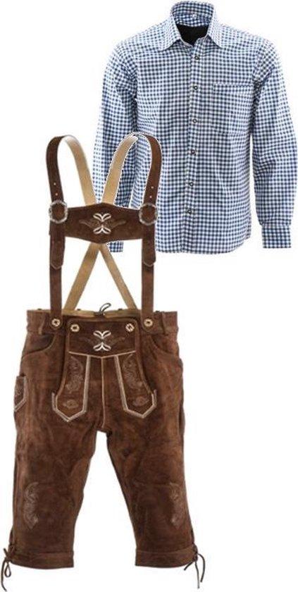 Lederhosen set | Top Kwaliteit | Lederhosen set F (goudbruine broek + blauw overhemd)-52-L