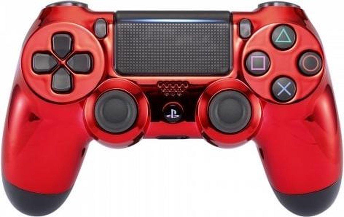 PS4, Wireless Dualshock 4 Controller V2 - Chrome Rood Custom - Merkloos