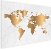 Poster - Wereldkaart - Marmer - Goud - 40x30 cm