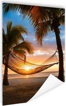 Hangmat op het Caribische strand Poster 120x180 cm - Foto print op Poster (wanddecoratie) XXL / Groot formaat!