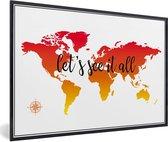 Foto in lijst - Wereldkaart met zonsondergang kleuren en de zwarte tekst fotolijst zwart 60x40 cm - Poster in lijst (Wanddecoratie woonkamer / slaapkamer)