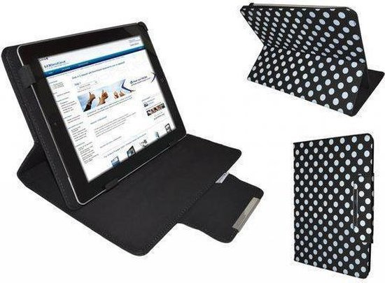 """Polkadot Hoes  voor de Aoc Breeze Tablet Mw1031 3g, Diamond Class Cover met Multi-stand, merk i12Cover"""