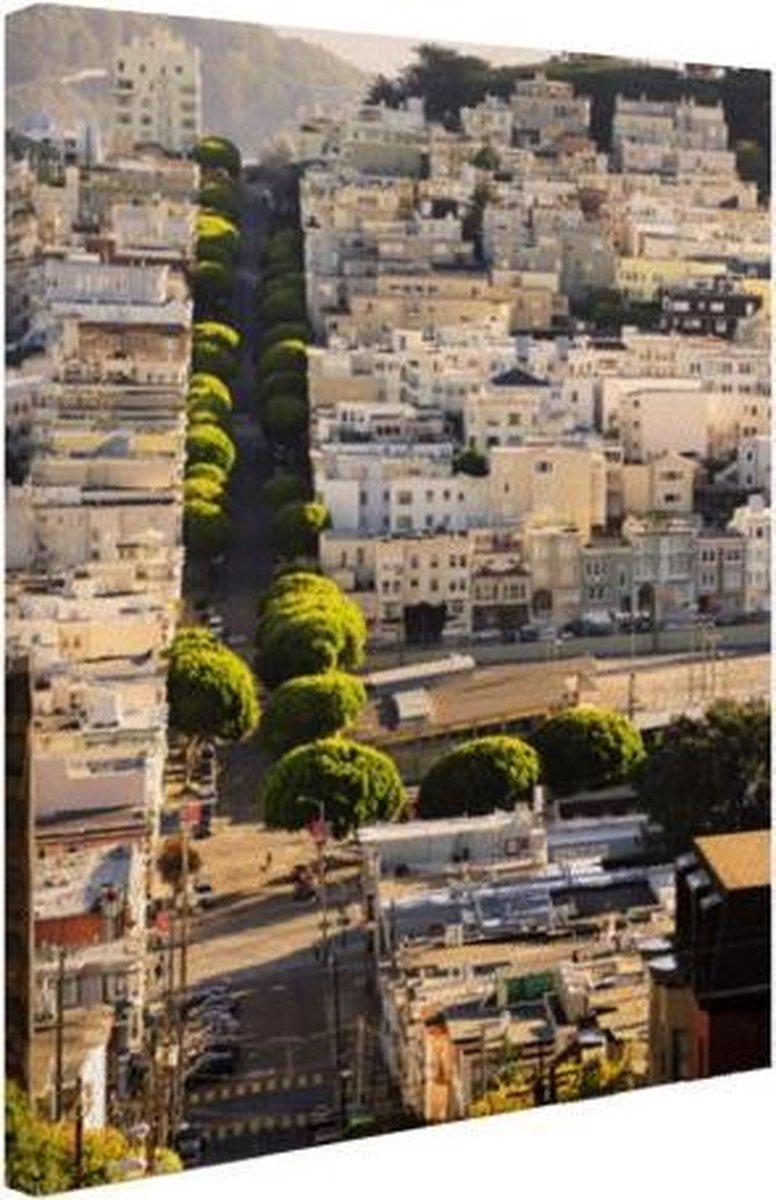 Heuvels van San Francisco Canvas 40x60 cm - Foto print op Canvas schilderij (Wanddecoratie woonkamer / slaapkamer) / Steden Canvas Schilderijen