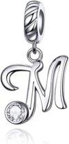 Zilveren hangende bedel letter M