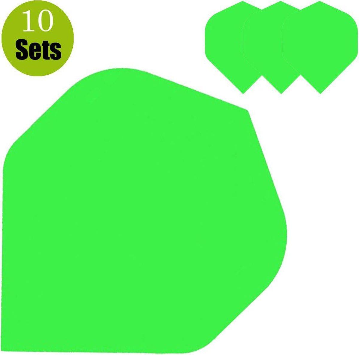 Poly Plain Dartflights - Fluor Groen- (10 Sets)